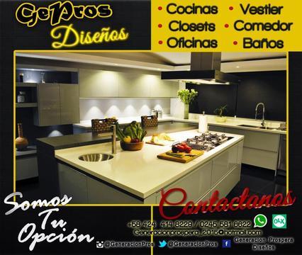 Cocinas empotradas modernas, Topes de granito, Closets, Vestier, Baños, Salas