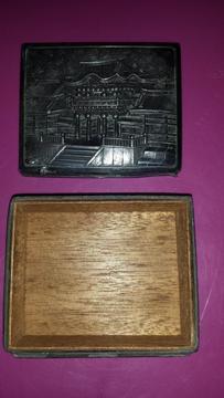 Caja China ANTIGUA Labrada, Elaborada En Metal Y Madera