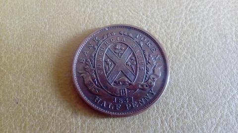 Bank Token Half Penny año 1837 Canada