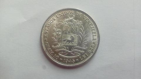 Moneda 2 Bolívares de plata año 1945 No circulantes
