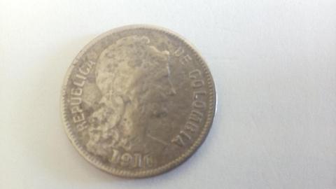 Moneda de colección Colombia 2 pesos del año 1910 No circulante