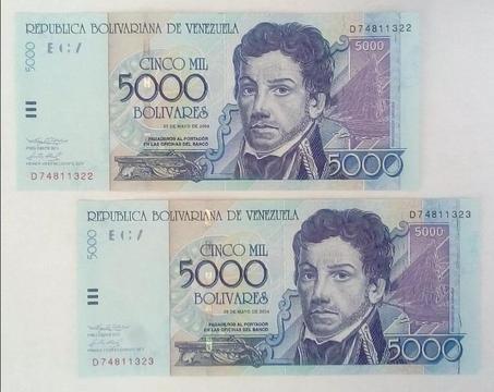 Billetes Consecutivos de 5000 del año 2004 Serial D7