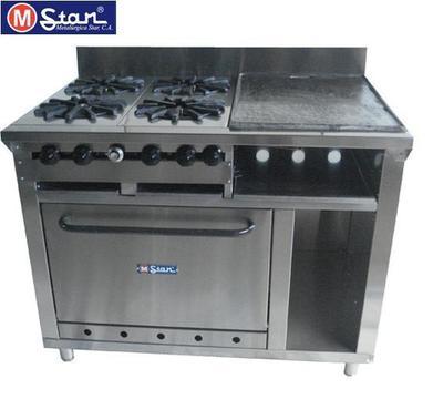 Cocina Industrial 4 Hornillas, Plancha C/Gratinador y Horno en Acero Inox MStar